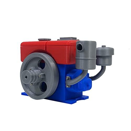 Elroy369Lion Motor de combustión diésel de impresión 3D, para tractor, coche, pequeña ciencia, colección generador de troncos, 10,5 x 7 x 9 cm (sin batería)