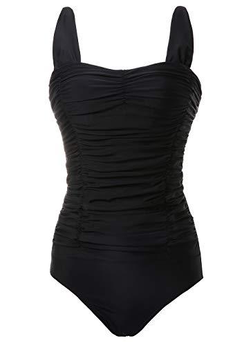 COCOPEAR Women's Elegant Vintage One Piece Swimsuit Retro Tummy Contal Swimwear (FBA) Black 3XL/16-18