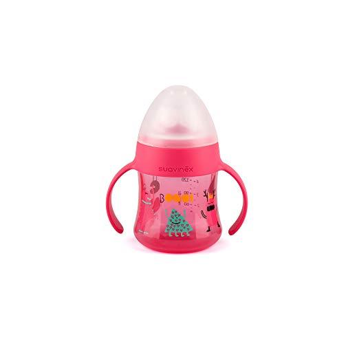 Suavinex - Biberón Con Asas First BOOO 150ml. Boquilla Antiderrame de Silicona. Diseño Ergonómico. Biberón Bebé +4 Meses, Color Rosa