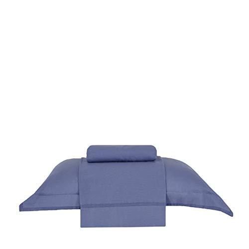 Jogo de Cama Buddemeyer Basic Premium Azul Escuro Solteiro Algodão