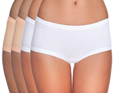 e.Femme Dames 4-delig pak taille-slip van Lenzing modal en katoen, 2 x wit en 2 x huid