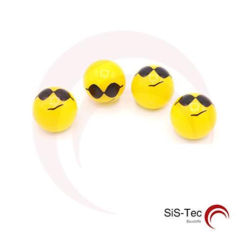 Ventieldoppen kunststof geel Smiley Emotion 'Zonnebril' - ventielen voor banden auto motorfiets (16 stuks)