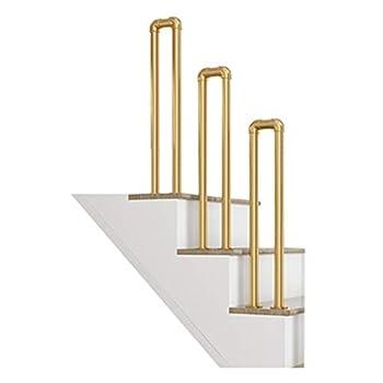 Handrails for Elderly and Children Fits 1 Step U-Type Matte Gold Wrought Iron Stair Railing for Indoor/Outdoor Villa Garden Corridor Balcony Balustrade