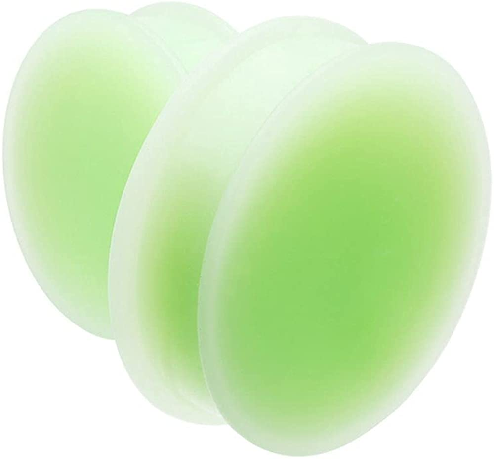 Covet Jewelry Glow in The Dark Supersize Solid Silicone Ear Double Flared Plug