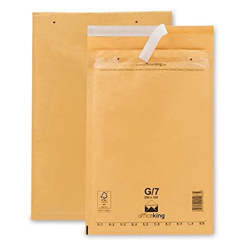 OfficeKing 100 Luftpolsterumschläge G7 braun 250x350mm DIN A4+ (10 Größen wählbar) Luftpolster Verpackung Polsterumschläge Briefumschläge gepolstert
