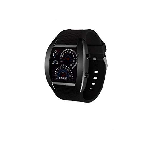 Unisex Multi usos del tablero de instrumentos reloj deportivo Aire reloj electrónico digital con cuero brazalete del estilo simple ventilador de marcación forma de reloj