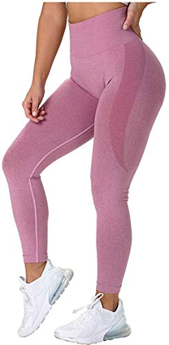 CNASA Leggings für Frauen, Po, Lift, Yoga, Sport, Workout, sexy, nahtlos, hohe Taille Gr. S, dunkelrosa