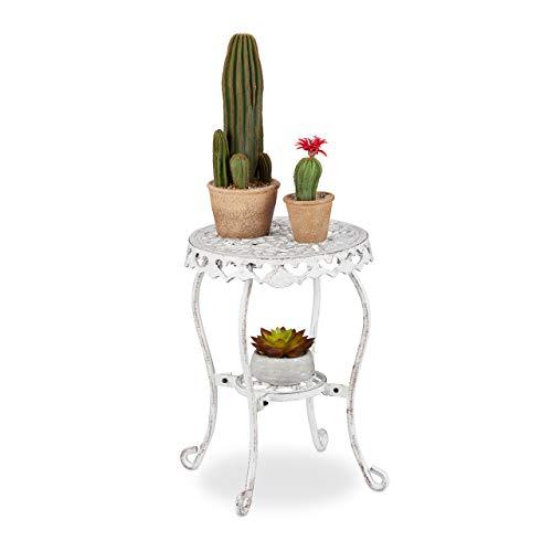 Relaxdays Blumenhocker Gusseisen, rund, antik, H x D: 41 x 36,5 cm, Kleiner Vintage Pflanzenhocker, innen & außen, weiß, 1 stück, 10032082_49