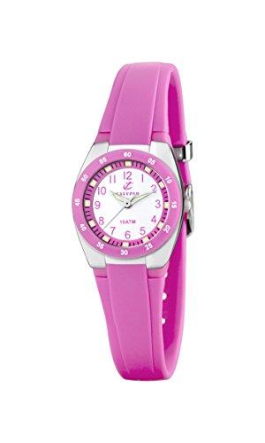 Calypso Reloj Modelo K6043/C de la colección Sweet Time, Caja de 25 mm Blanco con Correa de Caucho Rosa para señora