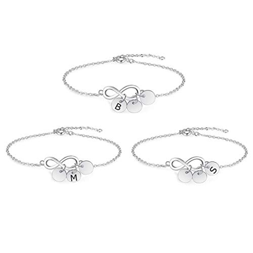 Personalised silver adjustable bracelet women 3 sisters bracelets name bracelet for 3 bff gifts for daughter bffs birthday christmas jewellery (Style 2)