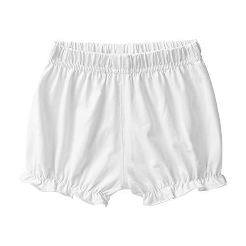 TiaoBug Baby Mädchen Kurze Hose Sommer Baumwolle Shorts Gerafft Pumphose Bloomer mit Rüschen Saum Unterwäsche 9 Monate bis 2 Jahre Elfenbein 80-86