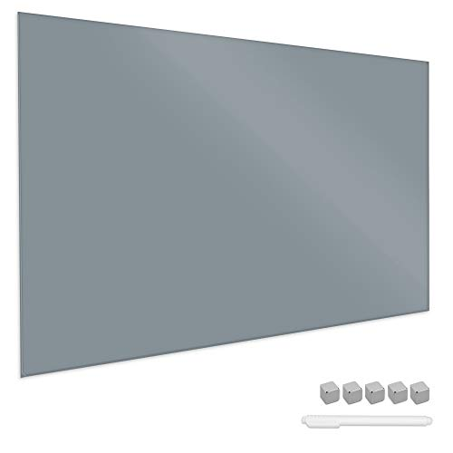 Navaris Magnettafel Magnetboard aus Glas - 90x60 cm Tafel magnetisch zum Beschriften - Magnetwand in Grau - inkl. Magnete Stift Halterung