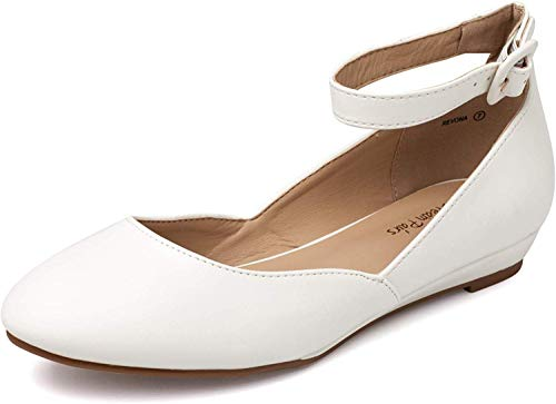 DREAM PAIRS Women's Revona White Pu Low Wedge Ankle Strap Flats Shoes - 8.5 B(M) US