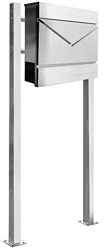 Edelstahl Standbriefkasten Ständer Briefkasten Zeitungsrolle Freistehend V2Aox Auswahl, Ausführung:2 Füße - eckig, Design:07