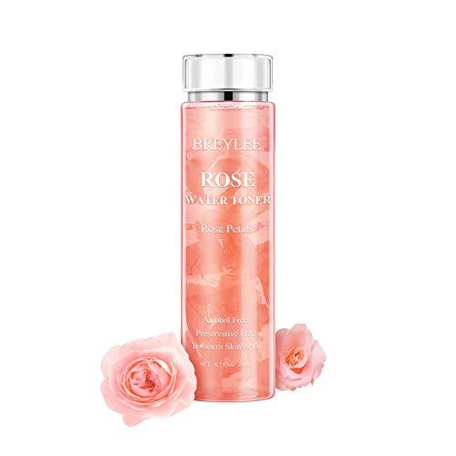 Rosenwasser, BREYLEE Rosenwasser vegan organisch Gesicht Toner konservierungsmittelfrei Gesichtswasser mit Rosenblatter Rose Water(200 ml, 6,7 fl oz)