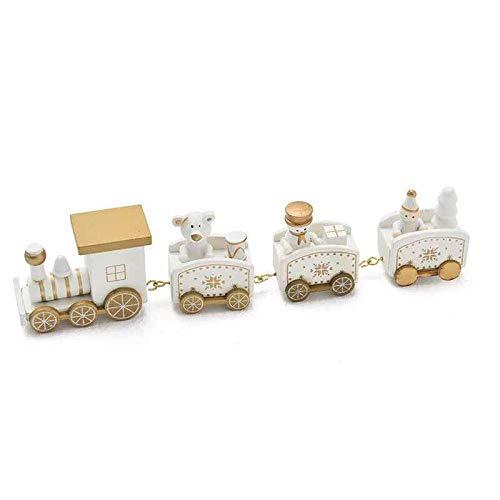 thematys Holz-Eisenbahn Weihnachtszug in 3 verschiedenen Designs - die perfekte Weihnachts-Deko für gemütliche Weihnachtsstimmung (Weiß)