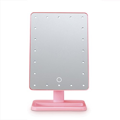 FYCZ Miroir cosmétique Illumination LED allument l'écran tactile Dimmable Switch Mirror pour le soin de la peau cosmétique Rasage et voyage (Couleur : Pink)