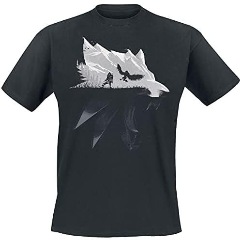 Witcher Mens T-shirt Lupo Silhouette Geralt di Riva Caccia Selvaggia nero di cotone - L