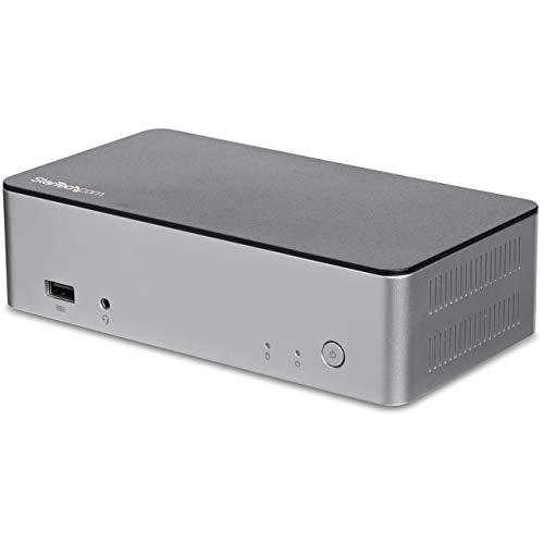 Dual Monitor USB C Dock, MST 4K Dual DisplayPort dockingstation, 2,5 inch SATA SSD/HDD schijfschacht, 60W Power Delivery