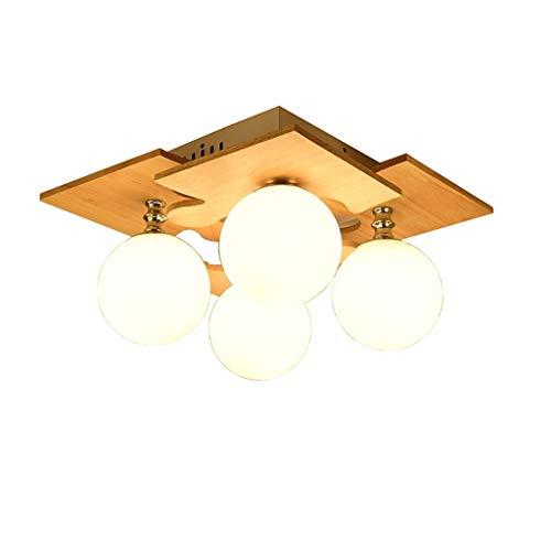 4 portalampada Plafoniera a LED in Legno con Sfera Quadrata Puzzle Paralume in Vetro Lampada da soffitto per Camera da Letto, Soggiorno, Cucina e Salotto