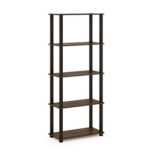 Furinno Turn-S 5-Tier Multipurpose Shelf Display Rack with Square Tubes, Walnut/Brown