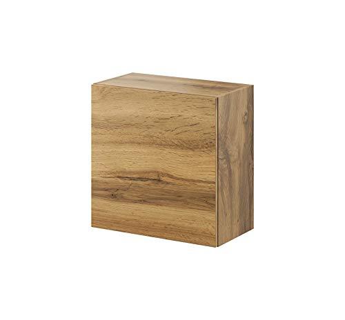 Furniture24 Hängeschrank Vigo Quadrat, Wandschrank mit 1 Tür, Schrank, Kommode, Wohnzimmerschrank, Grifflose Öffnen, Push to Open (Wotan Eiche)