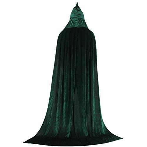 ZJfloral Capa larga con capucha de terciopelo para Halloween, Navidad, disfraces, disfraz de vampiro para adultos, disfraces de Halloween, regalo verde