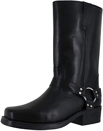 Engineer Boots, Pull-On Western Buckle Biker Boots, Size UK 10