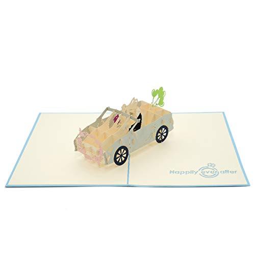 Favour Pop Up Glückwunschkarte zur Hochzeit. Ein filigranes Kunstwerk, dass beim Öffnen als Hochzeitsauto überrascht. TW032