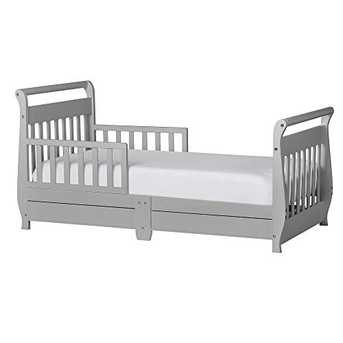 Dream On Me Sleigh Toddler Bed w/Storage Drawer, Pebble Grey