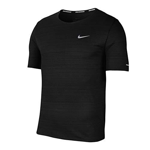 Nike M NK DF Miler Top SS T-Shirt, Uomo, Black/(Reflective Silv), L