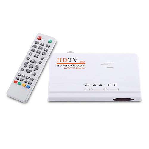 Annadue Receptor sintonizador de TV, convertidor de TV por satélite Digital 1080P HD T2 sin Puerto VGA, con Control Remoto, grabación y visualización de VCR, AV, RCA, DVD, etc.