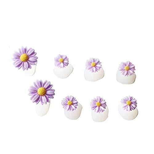 8Pcs séparateur Toe silicone Violet forme de fleur de conception bricolage ressuage Pieds Nail Art Toe Manucure Soins