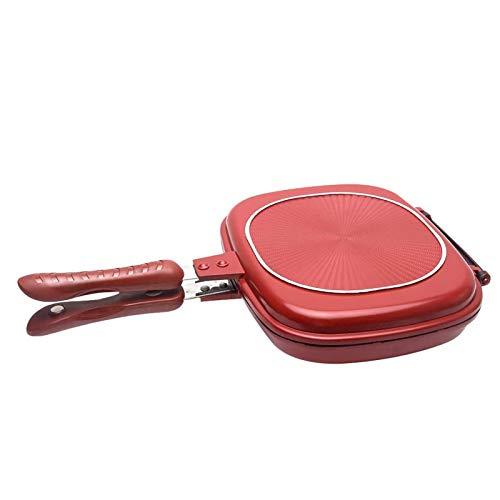 PHLPS Tortilla de aleación de aluminio Pan de doble cara Barbacoa portátil Pan Pan Pan Jumbo Parrilla Pan Pan Pan para las tortillas de panqueques Tostadas francesas para pollo de interior y al aire l