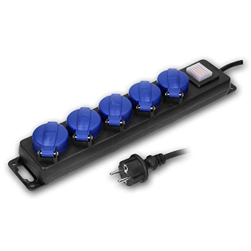 world-trading-net - Regleta de enchufes con interruptor de 5 posiciones, IP44, cable de conexión de goma de 5 m con enchufe de seguridad, apto para uso exterior