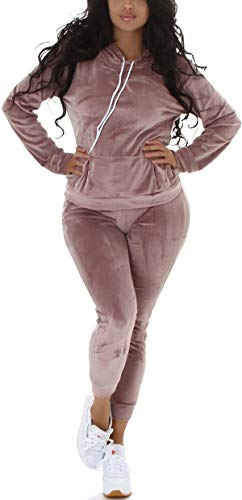 Jela London Damen Jogginganzug Nicki Velour Samt Kapuzen-Pullover mit Hose, Violetgrey 36-38 (SM)