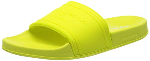 Pepe Jeans London Slider Unisex, Mules Mujer, Amarillo (Neon Yellow 044), 39 EU