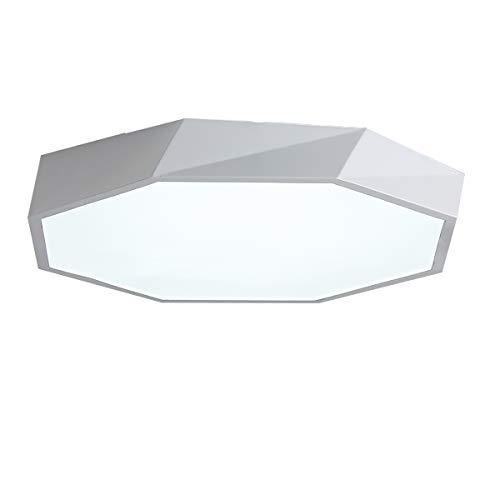 Luz de techo Macaron de forma geométrica de estilo nórdico, luz de techo empotrada de personalidad creativa, lámpara LED moderna simple de temperatura de tres colores,White,16 inch