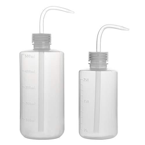 StonyLab 2-Paquete 250 ml/500 ml Botella de Lavado, Botellas de Plástico para Lavar con Presión, LDPE Material con Boca Estrecha, Squeeze Wash Bottle - 250 ml/500 ml