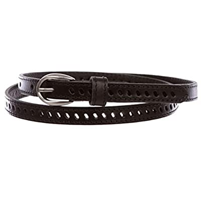 "Women's 1/2"" (13 mm) Skinny Perforated Edge Stitch Casual/Dress Leather Belt, Black 
