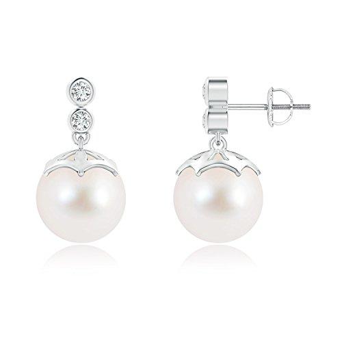 Pendientes redondos de perlas cultivadas en agua dulce con diamantes dobles