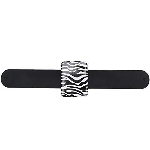 Pulsera magnética de 3 colores, muñequera portátil de Metal, pasador de cojín, soporte para acolchar, alfileres de costura, pinzas para el cabello bordadas(Patrón de cebra)