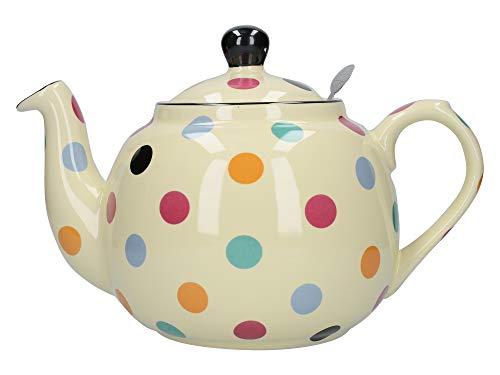 London Pottery Farmhouse Teekanne mit Teesieb gepunktet, keramik, Elfenbeinfarben mit bunten Punkten, 1,5 Liter
