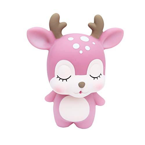 Toddmomy 1 Unidad de Caja de Ahorro de Banco de Monedas de Ciervo Hucha de Ahorro de Animales de Dibujos Animados para Niñas Niños Adultos (Rosa)