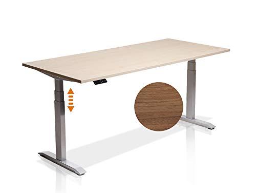 moebel-eins Elektrisch höhenverstellbarer Schreibtisch Office One mit Memory-Steuerung und Softstart/-Stop, Material Tischplatte Dekorspanplatte, 120x80 cm, nussbaumfarbig, grau