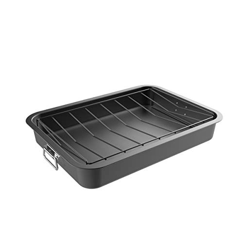 Classic Cuisine 82-KIT1106 Bandeja para asar con rejilla angular, antiadherente, bandeja extraíble, drena grasa y grasa para cocina más saludable