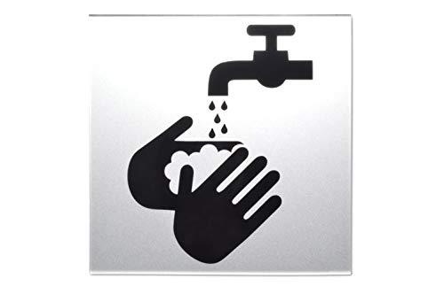 SynMe Signo de Lavado de Manos como símbolo, Icono, Imagen - 11 x 11 x 0.3cm - Acrílico Negro sobre Plata - Etiqueta 3M de la Famosa Marca 3M - Signo de Inodoro - Higiene Germany (1)