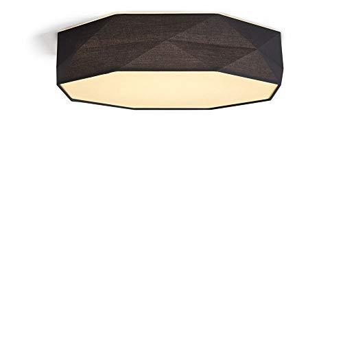 Deckenleuchte Deckenlampe & Deckenlicht famlights | LED Mikael aus Stoff in Schwarz 450mm dimmbar Metall Wohnzimmer Schlafzimmer | 1-flammig