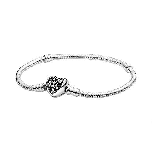 Pandora Stammbaum Schlangen-Gliederarmband mit Herzverschluss 18cm, silber, 598827C01-18