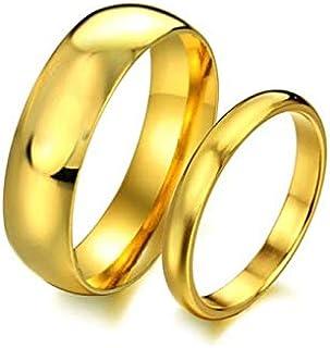 18K Gold Plated Titanium Gift Wedding Engagement Couple Ring Set Female US7 Male US9